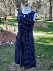 Christopher amp; Banks Sleeveless Blue Dress Polka Dot Circles Size Medium nwt