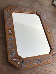VINTAGE ANTIQUE MIRROR HAND PAINTED WOODEN FRAME SHABBY CHIC BOHO DRESSER GBP 25.00
