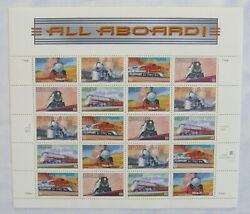 ALL ABOARD TRAINS RAILROAD * SHEET OF 20 US 33c STAMPS * 1999 MNH * from Canada C $6.90