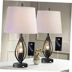 Modern Farmhouse Table Lamp Sets of 2 with 2 USB Ports Pulg in Industrial Grey $184.29