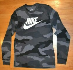 Nike Camouflage Swoosh Logo Long Sleeve T Shirt Men#x27;s Size: Medium M NWT