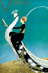 Vogue Peacock Lady Magazine Cover Vintage Art Wall Room Poster POSTER 24x36 $18.99