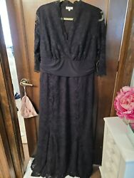 GORGEOUS NWT KIYONNA BLACK LACE GOWN LONG SIZE 2X SLEEVES 3 4 LENGTH $115.00