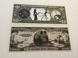2 The Nightmare Before Christmas Novelty Notes Bills. $1.75