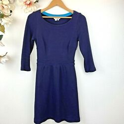 Boden Women#x27;s Navy Blue Dress 3 4 Sleeve Size 2