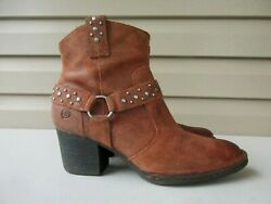 Born Womens boots Size 8 M Burnt Brown Suede Zip Ankle Studs $34.90