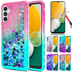 For Samsung Galaxy A12 Case Liquid Bling Shockproof Cover Glass Screen Protector $9.95