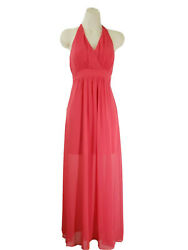 Express Women Cocktail Party Chiffon Halter Long Dress Size 0 Red Pink $24.75
