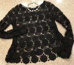 ACEMI Black Lace Long Sleeve Sheer Top L XL