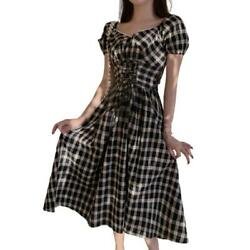 Dress Black Plaid Draw Back Party Cocktail Women Long Sleeve Evening Dress $11.81
