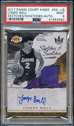 LONZO BALL 2017 18 Court Kings 299 PSA 9 MINT POP 2 JERSEY AUTO LAKERS