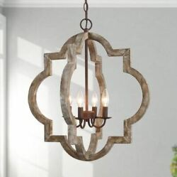 Modern Farmhouse Cage Chandelier Bronze Candle Stick Pendant Light $119.77