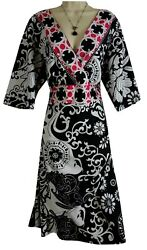 22 24 3X SEXY Womens ABSTRACT PRINT FAUX WRAP DRESS All Season Party PLUS SIZE $49.99