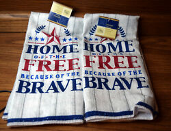 Home of the Free Because of the Brave USA Decorative Kitchen Towels 2 NWT $7.50