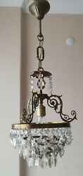 French Basket Style Vintage Brass amp; Crystals Chandelier Antique Lamp quot;213 10quot; $325.00