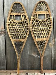 RARE Amazing Antique Indian Native American Hand Crafted KIDS Snowshoes 28x9 $145.00