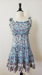Urban Outfitters Dress New = Size Small XS Tie Floral Open Back Boho Blue $31.50