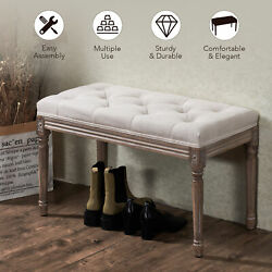 32quot; French Vintage Wood amp; Tufted Cushion Entryway Bench Piano Bench amp; Bed Bench $77.69
