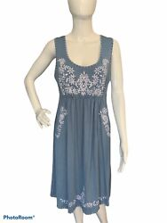Chelsea amp; Theodore Women#x27;s L Blue Dress Boho Embroidered Floral Jersey Stretch