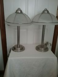 PAIR OF ELECTRIC LAMPS FOR YOUR BEDROOM OR DEN WHITE GLASS SHADES 2 BULBS $100.00