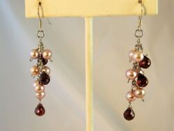 Red Crystal amp; Pearl Solid SS Dangle Earrings 2.25quot; Made With Swarovski Parts NEW $22.95
