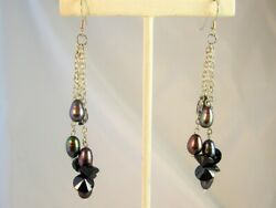 Black Baroque Pearl Solid SS Dangle Earrings 3quot; Made With Swarovski Parts NEW $22.95