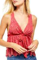 Free People Chante Lace Tie Tank Top Womens Boho Sexy Sleeveless NWT $88 $18.80