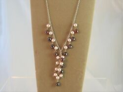 Red Crystal amp; Pearl Solid SS 925 Necklace 16quot; Made With Swarovski Parts NWOT $29.95