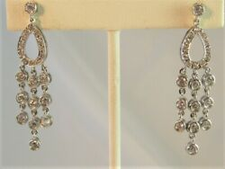 Solid Sterling Silver Dangle Drop Earrings 2quot; Made With Swarovski Parts NEW $16.95