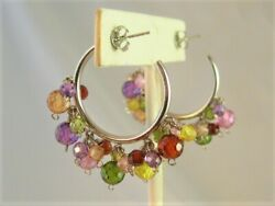 Multi Color Crystal Beads 925 Hoop Earrings 2quot; Made with Swarovski Parts NWOT $24.95