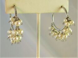 Cultured Pearl Beaded SS 925 Hoop Earrings 2quot; Made with Swarovski Parts NWOT $24.95