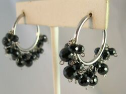 Black Crystal Beaded SS 925 Hoop Earrings 2quot; Made with Swarovski Parts NWOT $24.95