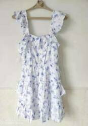 Brand New Love Shack Fancy For Target Amalie Purple Floral Tiered Ruffle Dress $39.99