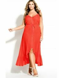 City Chic Trendy Plus Size Ruffled Maxi Dress 18W $29.99