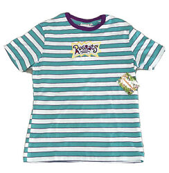 Rugrats Adult Small S Striped Tee Shirt Nickelodeon Logo Turquoise White NWT $19.99