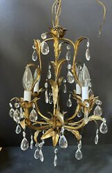 WOW Vintage *GOLD PRISMS Ceiling ITALIAN ITALY LIGHT Antique Metal CHANDELIER $249.95