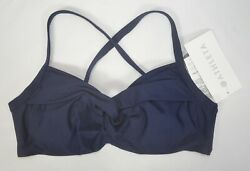 NWT $69 Athleta 34B C Dress Blue Twist Up Bikini Swimsuit Bathing Top #386376 $26.95