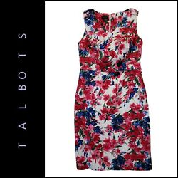 Talbots Women Sleeveless Career Formal Floral Dress Sheath Size 8 $27.75
