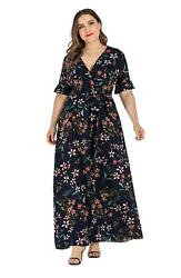 Women Floral Boho Beach Dress Plus Size V Neck Short Sleeve Maxi Long Dresses $27.99
