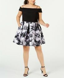 Morgan amp; Company Trendy Plus Size Off The Shoulder Fit amp; Flare Dress 24W $19.99