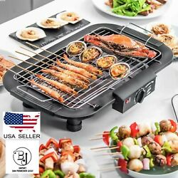 Electric Indoor outdoor Grill Portable Smokeless Non Stick Cooking BBQ Griddle $44.99