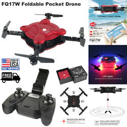FQ17W Foldable Pocket Drone LED WIFI FPV Photo Video Gyro Quadcopter Helicopter $36.95