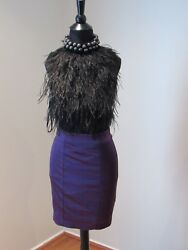 Bebe Feather Dress Cocktail Black Purple Wiggle Stretchy Club Women SEXY XS $49.99