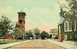 A View Of Blackstone Street amp; Churches Woonsocket Rhode Island RI 1911 $9.95