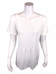 AnyBody Loungewear Women#x27;s Pullover Cozy Knit Seamed Tee Top White Small Size $12.00
