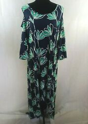 NY Collection Womens Navy Printed Cold Shoulder Maxi Dress Plus 2XP WS 367 $14.00