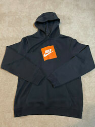 Nike Orange Box Logo Print Hoodie Size Men#x27;s Small S