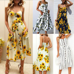 Boho Sunflower Printed Party Dress Women Sexy Sleeveless Backless Beach Sundress $19.99