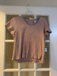 Liz claiborne red and white striped short sleeve trendy tee womens large $14.99