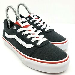 Vans Off The Wall Boys Size 3Y Gray Red White Lace Up Low Sneaker Shoes 508731 $63.35